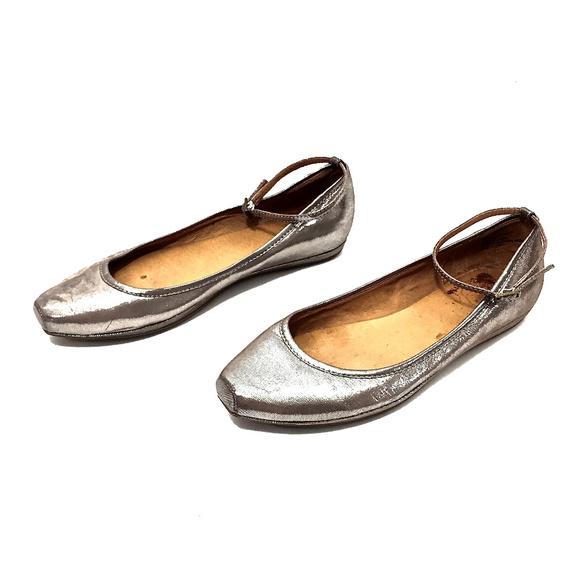 Frye Shoes   Frye Silver Leather Ballet
